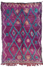 "Handwoven and Hand Knotted Talsint Vintage Berber Tribal Wool Rug Morocco (60"" x 103"")"