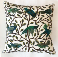 "Handwoven and Hand Embroidered Bird Pillow Greens Guatemala (17"" x 17"")"