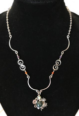 "Handmade Silver Wire Necklace with Stones Guatemala (12"" drop)"
