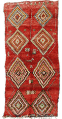 "Handwoven And Hand Knotted Vintage Pile Tribal Wool Rug Morocco(64"" x 134"")"