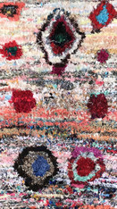 """Handwoven and Hand Knotted Mixed Fiber Boucherouite Rug Morocco (46"""" x 101"""")"""