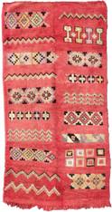 "Handwoven Wool Flat Weave with Pile Vintage Tribal Berber Rug Morocco (44"" x 81"")."