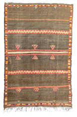 "Handwoven Wool Flat Weave with Pile Tribal Berber Rug Morocco (56"" x 88"")."