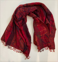 "Handwoven Boiled Wool Throw Reds India (54"" x 80"")"