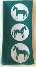 "Hand Printed Cotton Napkin  Set of 4 Green Horses India (19""x 19"")"