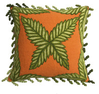 "Peru Woolen Hand Woven and Embroidered Pillow Oranges and Greens (17""x17"")"