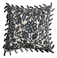 "Peru Woolen Hand Woven and Embroidered Pillow Greys (17""x 17"")"