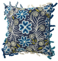 "Peru Woolen Hand Woven and Embroidered Pillow Blues (17"" x 17"")"