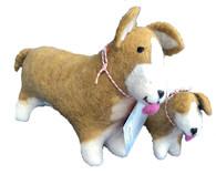 Handmade Wool Felt Stuffed Animal Corgi Dog Small Nepal