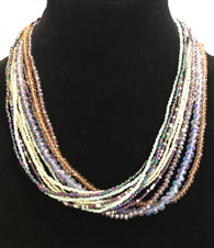 "Handmade Beaded 12 Strand Necklace Magnetic Clasp Guatemala (9"")"