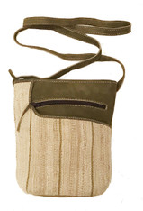 "HandwovenTraditional Hemp and Suede Cross Shoulder Purse Laos (8""x 10"")"