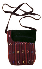 "HandwovenTraditional Cotton and Suede Cross Shoulder Purse Colotenango Reds Guatemala (8""x 10"")"