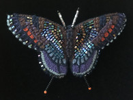"Handmade Embroidered Beaded Red Spotted Purple Butterfly Brooch (2.75"" x 2"")"