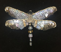 "Handmade Embroidered Beaded Dragonfly  Brooch (2.25"" x 1.75"")"