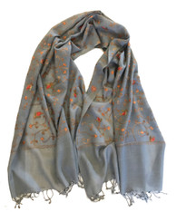 "Woolen Machine Embroidered Shawl on Grey India (28"" x 72"")"