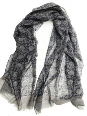 "Wool Silk Scarf Shawl India (29"" x 80"")"