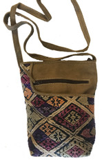 "Handwoven Raw Silk and Suede Cross Shoulder Purse Viet  Nam (8""x 10"")"