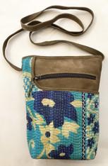 "Handmade Cotton Stitched and Suede Cross Shoulder Purse India (8""x 10"")"