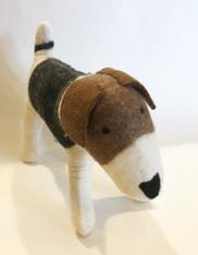 "Handmade Wool Felt Stuffed Animal Jack Russell Dog Large Nepal ( 12"" tall x 19"" long)"