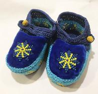 Handmade Crocheted Velvet and Beaded Baby Booties Blue India