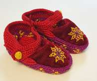 Handmade Crocheted Velvet and Beaded Baby Booties  India