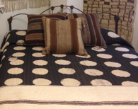 "Handmade  and Hand Printed Circle  Reversible Charcoal Natural Dyed Quilt Queen India (100"" X 100"")"