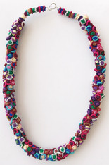 "Hand Knotted Button Multicolored 2 Necklace Morocco (10"" drop)"