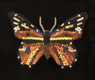 "Handmade Embroidered Beaded Monarch Butterfly  Brooch (2.25"" x 1.75"")"