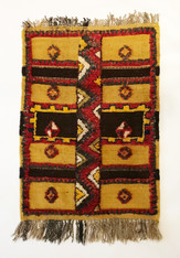 """Handwoven Glaoui Wool Flat Weave with Pile and Embroidery Vintage Tribal Berber Rug Morocco (28"""" x 39"""")"""