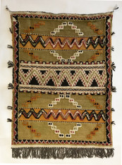 """Handwoven Glaoui Wool Flat Weave with Pile and Embroidery  Olive Vintage Tribal Berber Rug Morocco (33"""" x 45"""")"""