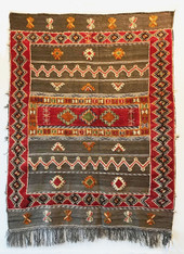 "Handwoven Glaoui Wool Flat Weave with Pile and Embroidery  Vintage Tribal Berber Rug Morocco (59"" x 75"")"