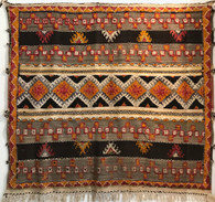 "Handwoven Glaoui Wool Flat Weave with Pile and Embroidery  Vintage Tribal Berber Rug Morocco (48"" x 53"")"