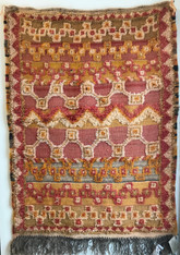 "Handwoven Glaoui Wool Flat Weave with Pile and Embroidery  Vintage Tribal Berber Rug Morocco (31"" x 42"")"