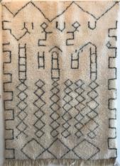 "Handwoven Natural Wool Pile Beni Ouarain Berber Rug Morocco (58"" x 83"")"