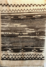 "Handwoven Natural Wool Pile Beni Ouarain Berber Rug Morocco (63"" x 87"")"