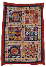 "Handmade Pieced and Stitched Ralli Quilt 3 India (45"" x 66"")"