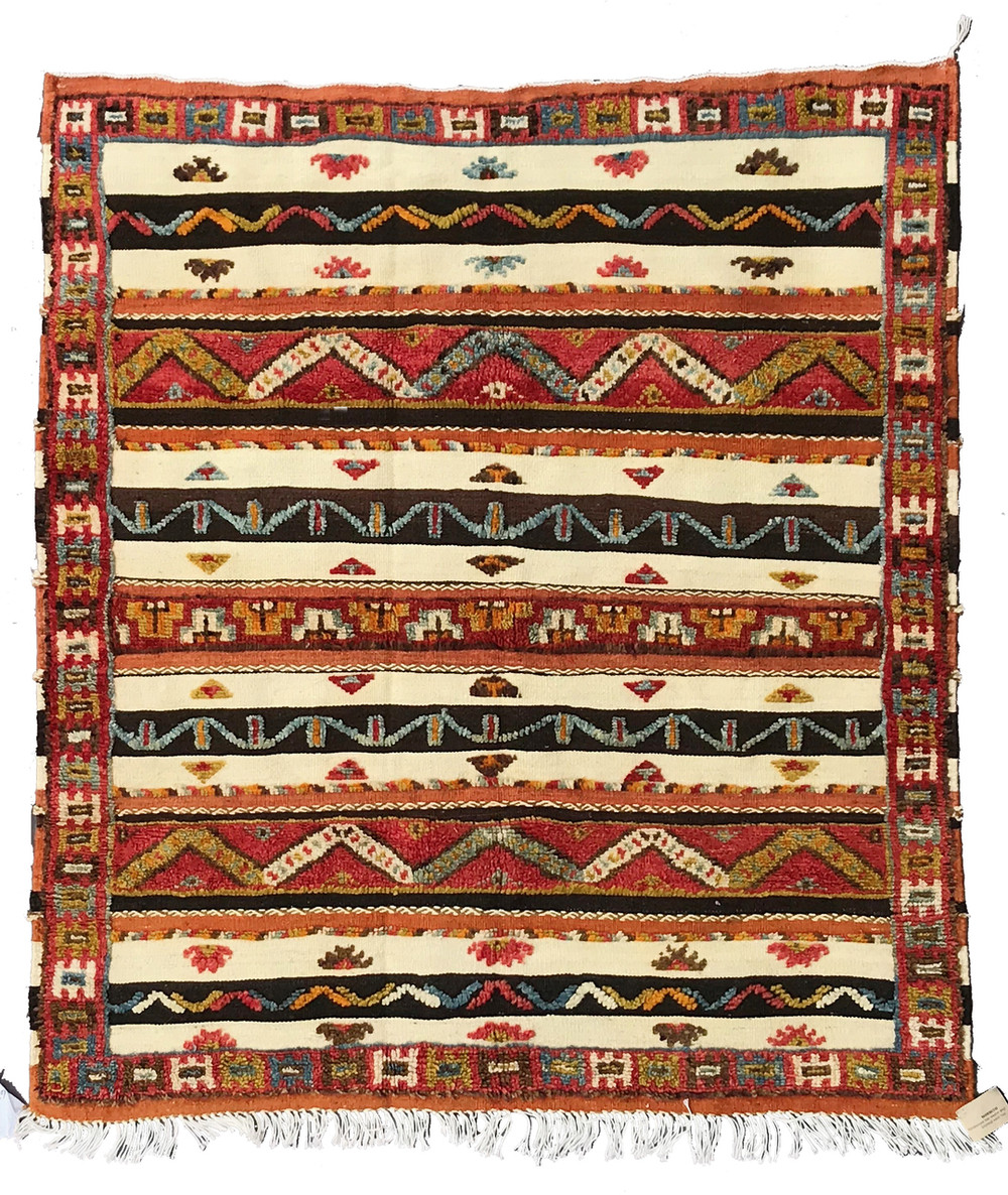 Flat Weave With Pile And Embroidery Vintage Tribal Berber