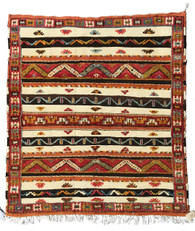"Handwoven Glaoui  Square Wool Flat Weave with Pile and Embroidery  Vintage Tribal Berber Rug Morocco (57"" x 62"")"