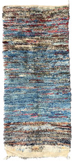 "Handwoven And Hand Knotted Mixed Fiber Vintage Pile Tribal Wool Rug Morocco (34"" x 78"")"
