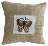 """Handwoven and Hand Embroidered Moth Pillow 1 on Hemp Guatemala and Laos (14"""" x 14"""")"""