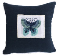 "Handwoven and Hand Embroidered Blue Moth Pillow 1  Guatemala  (14"" x 14"")"