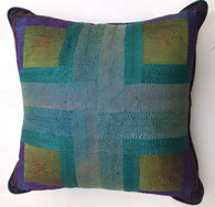 "Hand Quilted Greens Patchwork Silk Pillow India (19"" x 19"")"