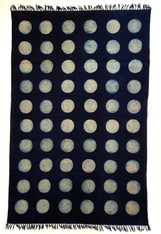 "Handmade Block Printed Natural Dyed Indigo Dot Canvas Rug India (48"" x 72"")"