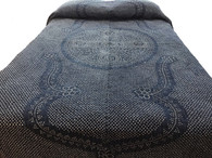 "Handmade Hand Stitched Cotton Bandhani Indigo Dyed Quilt Bedspread  (83"" x 96"")"