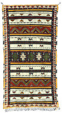 """Handwoven Glaoui  Wool Flat Weave with Pile and Embroidery Tribal Berber Rug Morocco (41"""" x 80"""")"""