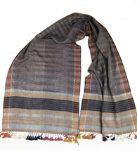 "Handwoven Natural Dyed Silk and Cotton Scarf D India (16"" x 72"")"