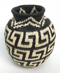 "Handmade Natural Fiber Wounaan Basket 2 Panama  (3"" wide x  3.25"" tall)"