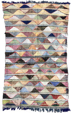 "Handwoven Flat Weave Mixed Fiber Rug Morocco ( 50"" x 89"")"