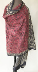 "Fine Hand Embroidered Silk Shawl  India (36""x 96"")"