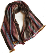 "Handwoven Woolen Natural Dyed Striped Throw India (37"" x 84"")"